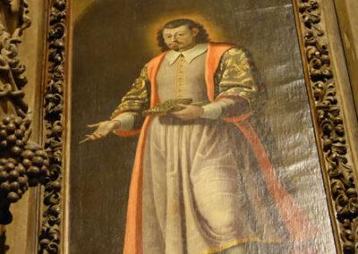Lienzo de San Pantaleón en el retablo de la Dolorosa