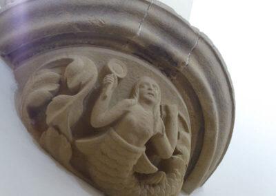 Decoración antropomorfa en los apoyos de las bóvedas